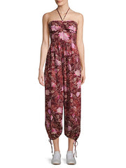 Free People Iris Patterned Halter Jumpsuit Dress S