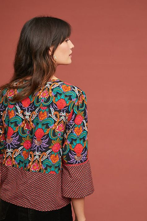 Maeve Anthropologie Carter Printed Blouse Top