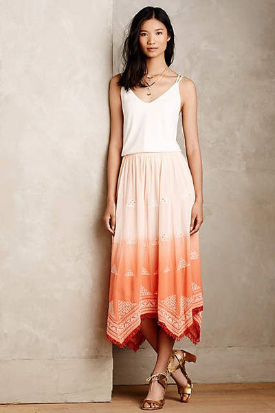 Floreat Anthropologie Ombre Pyramid Midi Skirt Dip Dye Sequin Fringed S