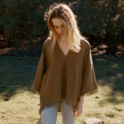 Doen Tate Raw Silk Oversized Tunic Top M