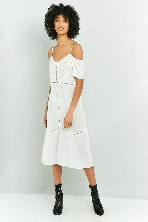 Pins & Needles Urban Outfitters Broderie Anglaise Cold Shoulder Dress L