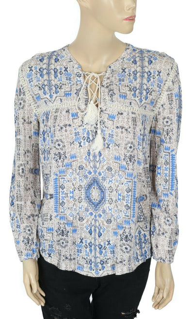 Lucky Brand Printed Blouse Top S
