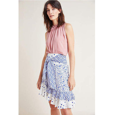 Meave Anthropologie Lillian Tie Front Tiered Printed Wrap Mini Skirt S 4