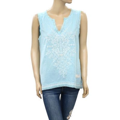 Odd molly Anthropologie Embroidered Lace Blue Tank Top M 2