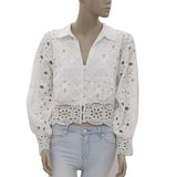 New Uterque Eyelet Embroidered Button Down Crop Bloused Top M 14