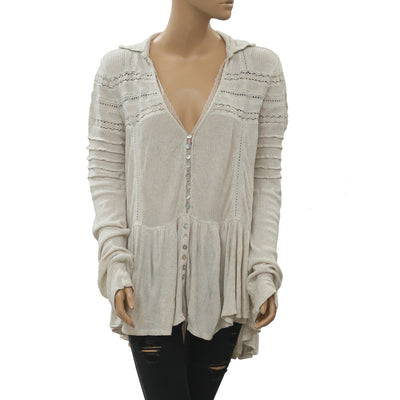 Free People Lace Buttondown Tunic Top XS