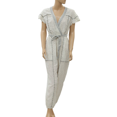Ulla Johnson Dot Printed Jumpsuit Dress Crochet Lace Embroidered M New