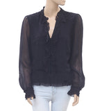 Uterque Ruffle Black Crop Blouse Shirt Top Buttondown Holiday XS New