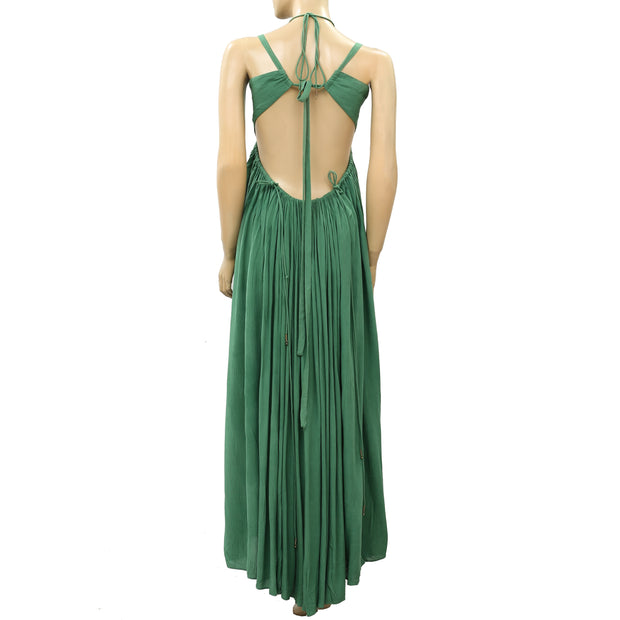 Free People Solid Halter Green Maxi Dress S