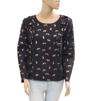 Des Petits Hauts Wilfried Black Blouse Top Pantheres Printed Ruffle L