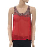 Joie Embroidered Embellished Blouse Tank Top Sheer Red XS