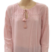 Free People Tie Knot Tassels Lace Blouse Top Peach Tie Front M