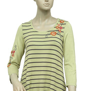 Caite Floral Embroidered Striped Printed Top XS