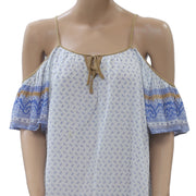 Free People Printed Cold Shoulder Tunic Dress Beach Bohemian White S