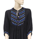 Free People Embroidered Buttondown Black Top Medium M