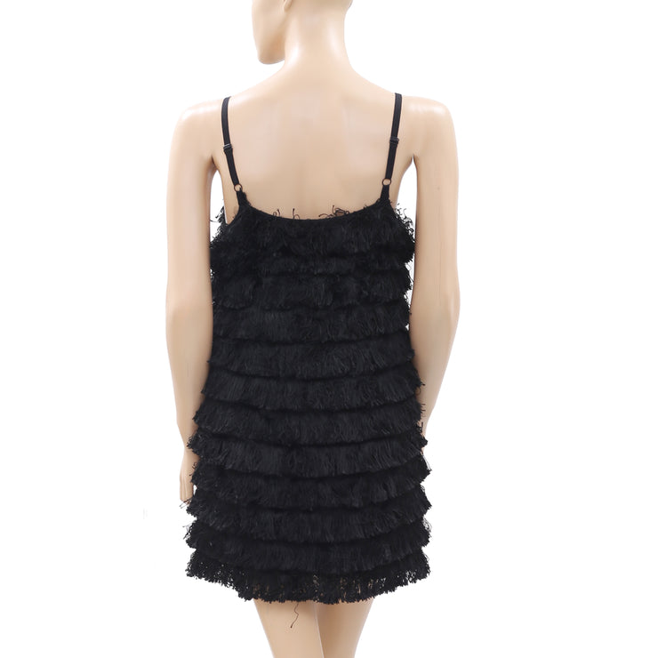 Zara Woman Fringes Embellished Black Mini Dress XS