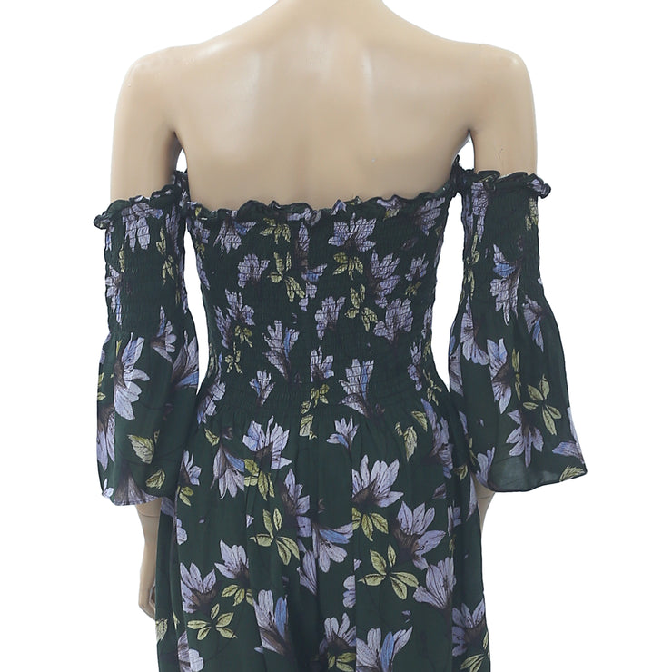 Kimchi Blue Urban Outfitters Floral Printed Jumpsuit Off Shoulder XS