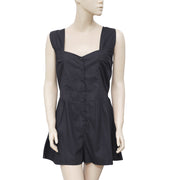 White Chocolate V Neck Sleeveless Casual Black Romper Dress  M
