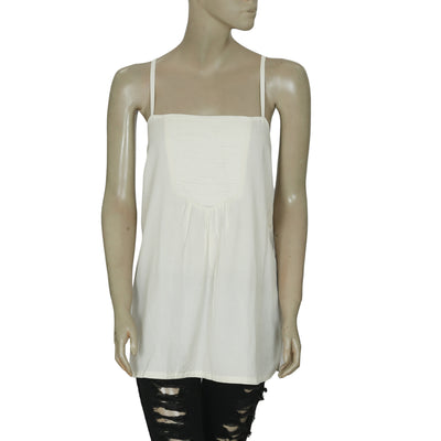 New White Chocolate Sleeveless Cream Pintuck Tunic Top Medium
