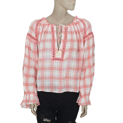 192528 New Free People Check Printed Tie Knot Long Sleeve Blouse Top  Large L