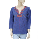Lucky Brand Embroidered Casual Boho Blue Blouse Top Small S New