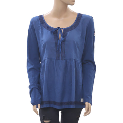 Odd Molly Anthropologie Cappella Blue Blouse Top