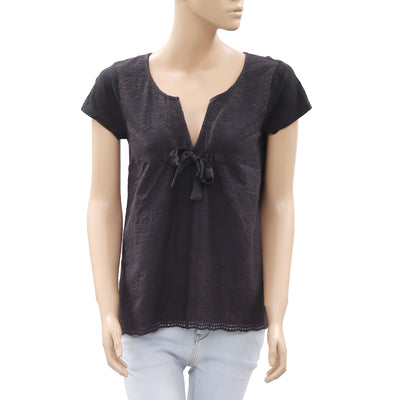 Odd Molly Embroidered Black Blouse Top S New