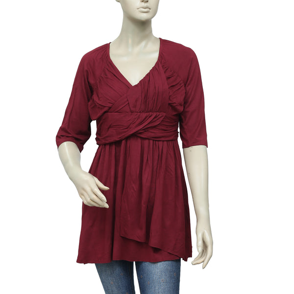 Caite Ruched Pattern Short Sleeve Maroon Top L