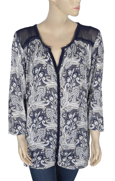 Lucky Brand Floral Printed Blouse Top Plus Size 3X