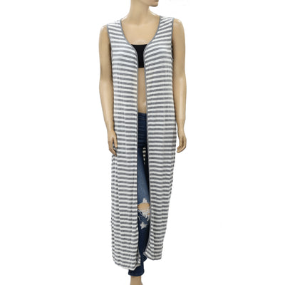 April Cornell Striped Printed Cardigan Coverup Midi Top S