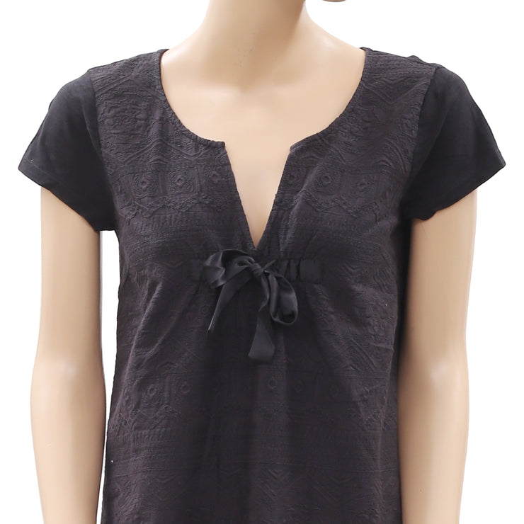 Odd Molly Embroidered Eyelet Black Blouse Top S