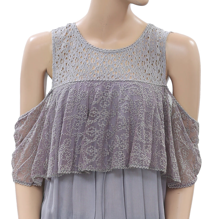 Free People Embroidered Purple Blouse Top Floral Lace Cold Shoulder M