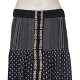 Zara Embroidered Flared Pocket Black Midi Skirt XS