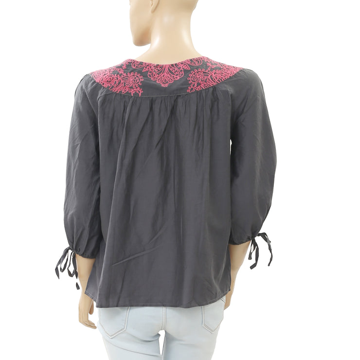 Odd Molly Embroidered Gray Blouse Top M