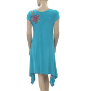 Caite Anthropologie Embroidered Turquoise Tunic Dress Asymmetrical S