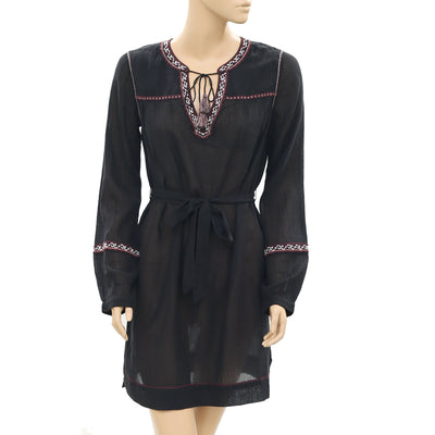 Ulla Johnson Embroidered Front Tie Black Evening Wear Mini Dress