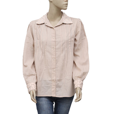 Anthropologie Saivana Embroidered Buttondown Pintuck Top L