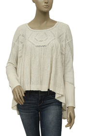 Free People Hope Babydoll Lace Inset Tunic Top M
