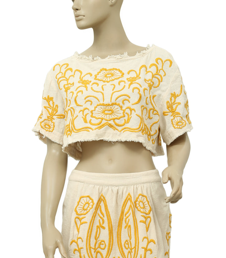 Free People Embroidered Moment In Time Skirt Top Set S