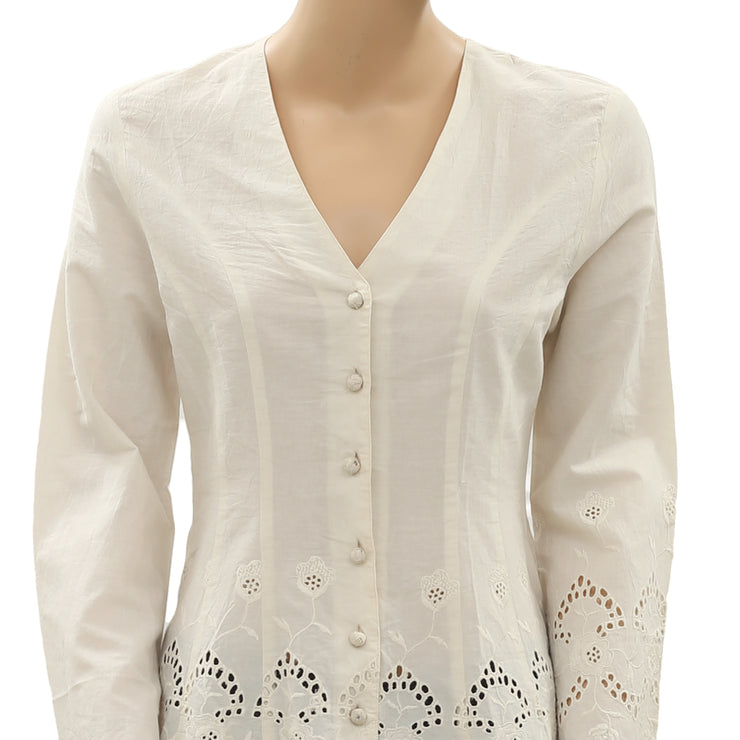 Roja Eyelet Embroidered Buttondown Ivory Top XS