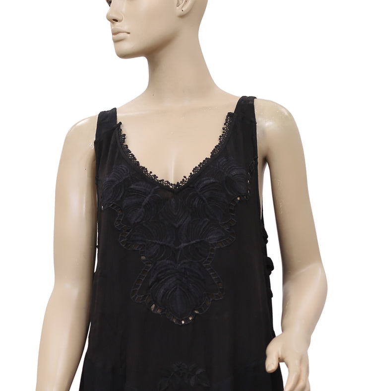 Free People Delphine Embroidered Black Tunic Dress M