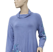 Soft Surroundings Embroidered Turtle Neck Top S