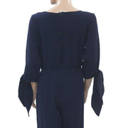 KOOVS  Knot Sleeve Zip Up Navy Jumpsuit L