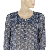 NEW Lucky Brand Floral Printed Sheer Blouse Top Medium