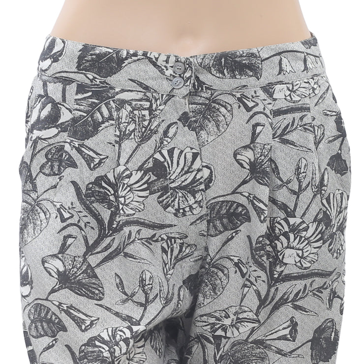 Ganni Anthropologie Floral Printed Shorts High Waisted Boho Gray S