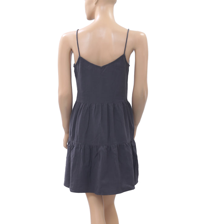 Victor B Embroidered Gray Slip Mini Dress Beaded Tiered Cotton Boho S NEW