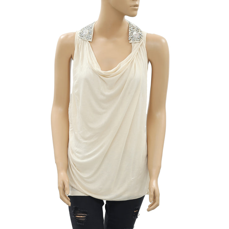 Leifnotes Beaded Embellished Beige Top S