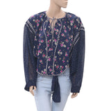 Koos Floral Printed Blouse Top Front Tie Wide Sleeve Smocked Navy L
