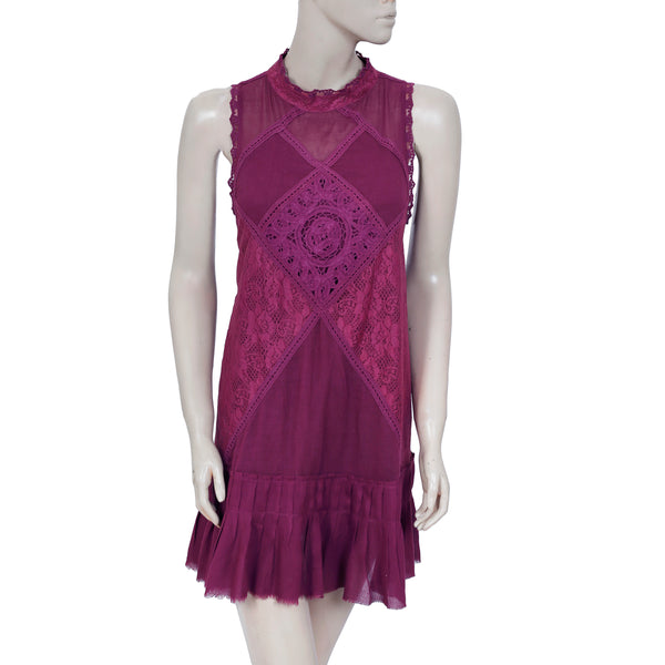 Free People Fp One Angle Lace Sleeveless Pleated Wine Dress Medium M