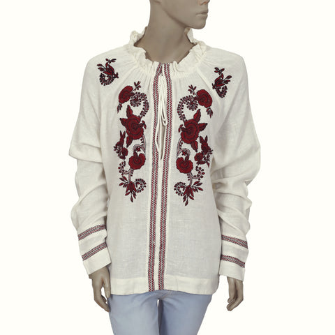 Free People Floral Embroidered Long Sleeve Cream Blouse Top XS